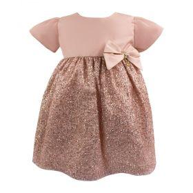 Vestido bebê com brilhos - Rosa seco
