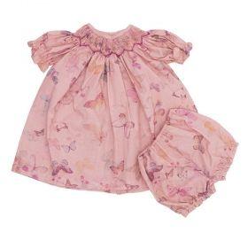Vestido bebê com calcinha borboletas - Rosê