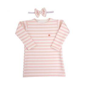 Vestido bebê com faixa - Branco e rosa