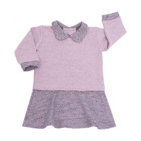 Vestido bebê com gola - Rosa seco