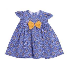 Vestido bebê - Azul e amarelo