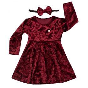 Vestido bebê em veludo - Marsala