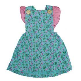 Vestido bebê estampa flamingos - Verde