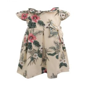 Vestido bebê floral bordado - Marfim