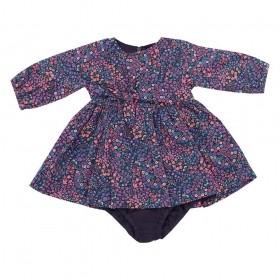 Vestido bebê manga longa floral com detalhe de laço - Preto