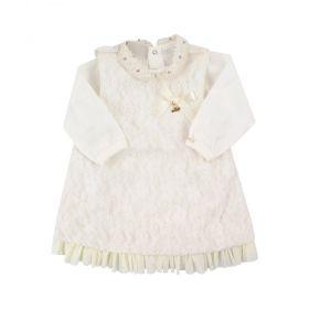 Vestido bebê rendado - Marfim