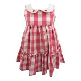 Vestido bebê xadrez - Branco e vermelho