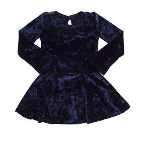 Vestido em veludo - Azul marinho
