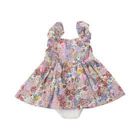 Vestido floral bebê - Marfim