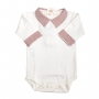 Body bebê gola e punhos em linho - Off white e vermelho