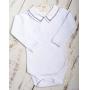 Body bebê quadradinho duplo - Branco e grafite