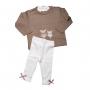 Conjunto bebê blusa gatinho e legging - Bege e off white