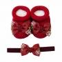 Kit sapatinho e faixa bebê com laço de gorgurão bordado - Vermelho
