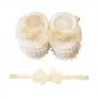 Kit sapatinho e faixa bebê laço de organza com pérolas - Natural