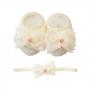 Kit sapatinho e faixa bebê laço organza e flor - Natural