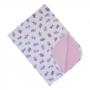 Manta bebê em suedine ursinha - Branco e rosa