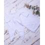 Saída de maternidade flores macacão e manta - Branco