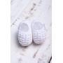 Sapatinho bebê em tricot com laço e pérolas bordadas - Branco