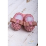 Sapatinho bebê em tricot com laço gorgurão e pérolas - Rosê