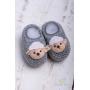 Sapatinho bebê em tricot ovelhinha - Cinza
