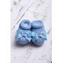 Sapatinho bebê laço gorgurão flor - Azul bebê
