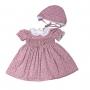 Vestido bebê casinha de abelha floral - Rosa seco (Acompanha touca até o tamanho 1)