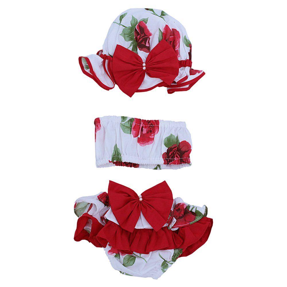 Banho de sol bebê estampa flores 3 peças - Branco/Vermelho