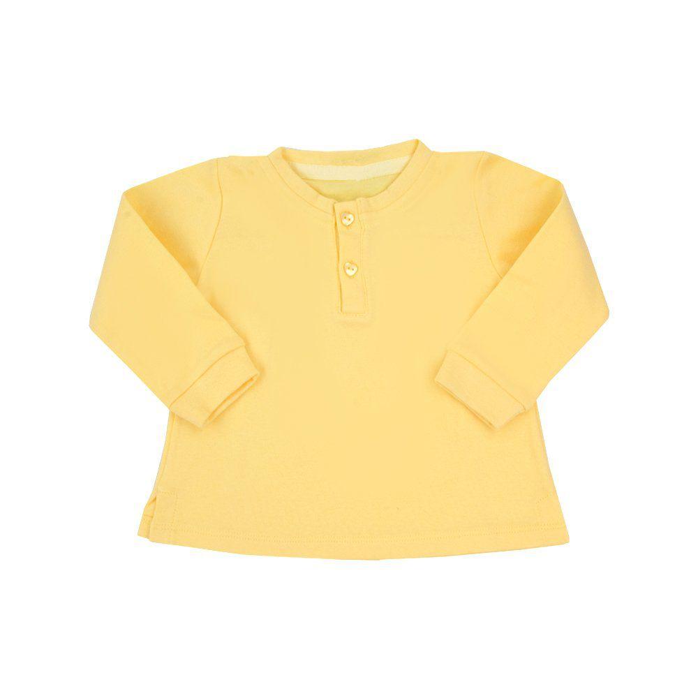 Batinha bebê manga longa com botões de coração - Amarelo