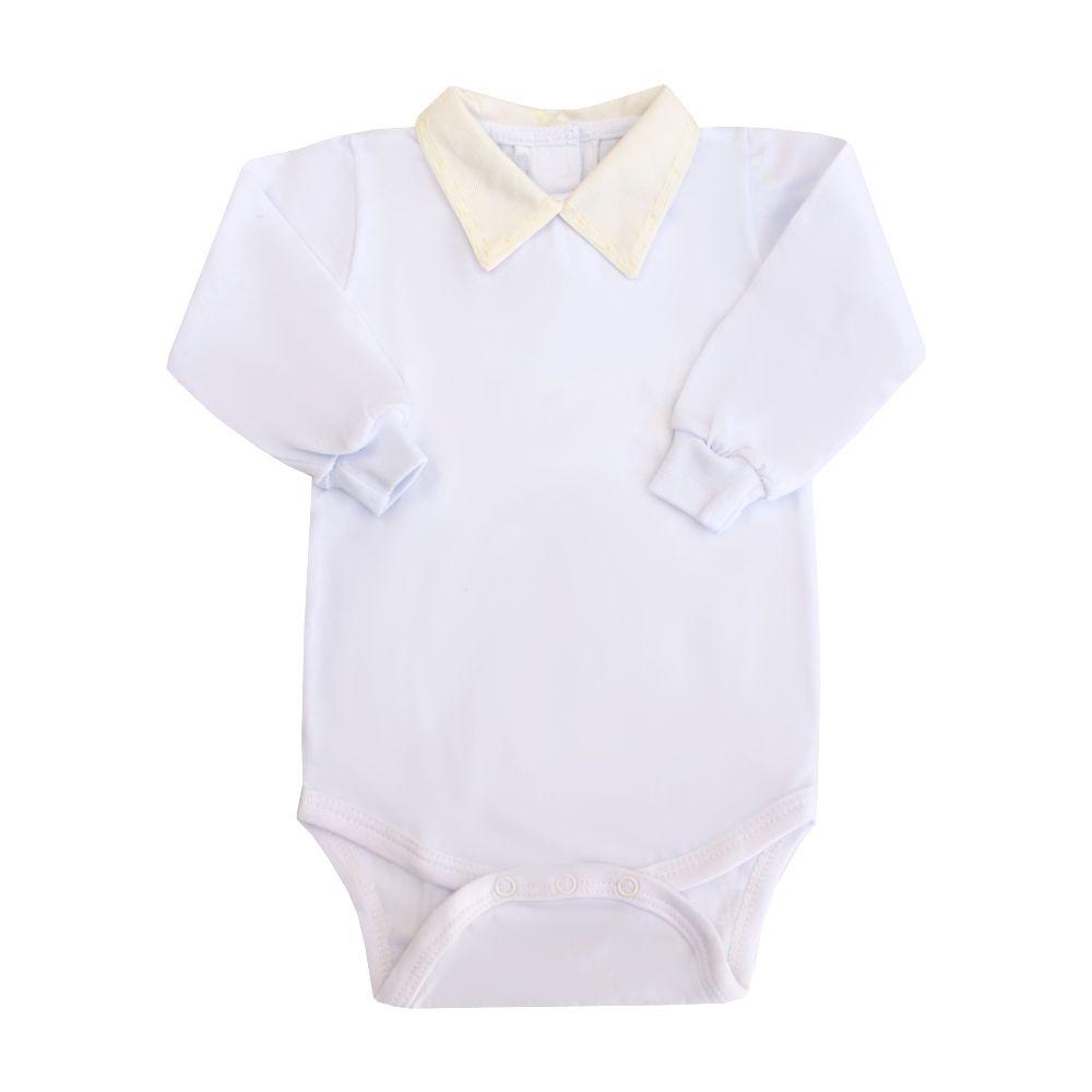 Body bebê alinhavos - Branco e amarelo