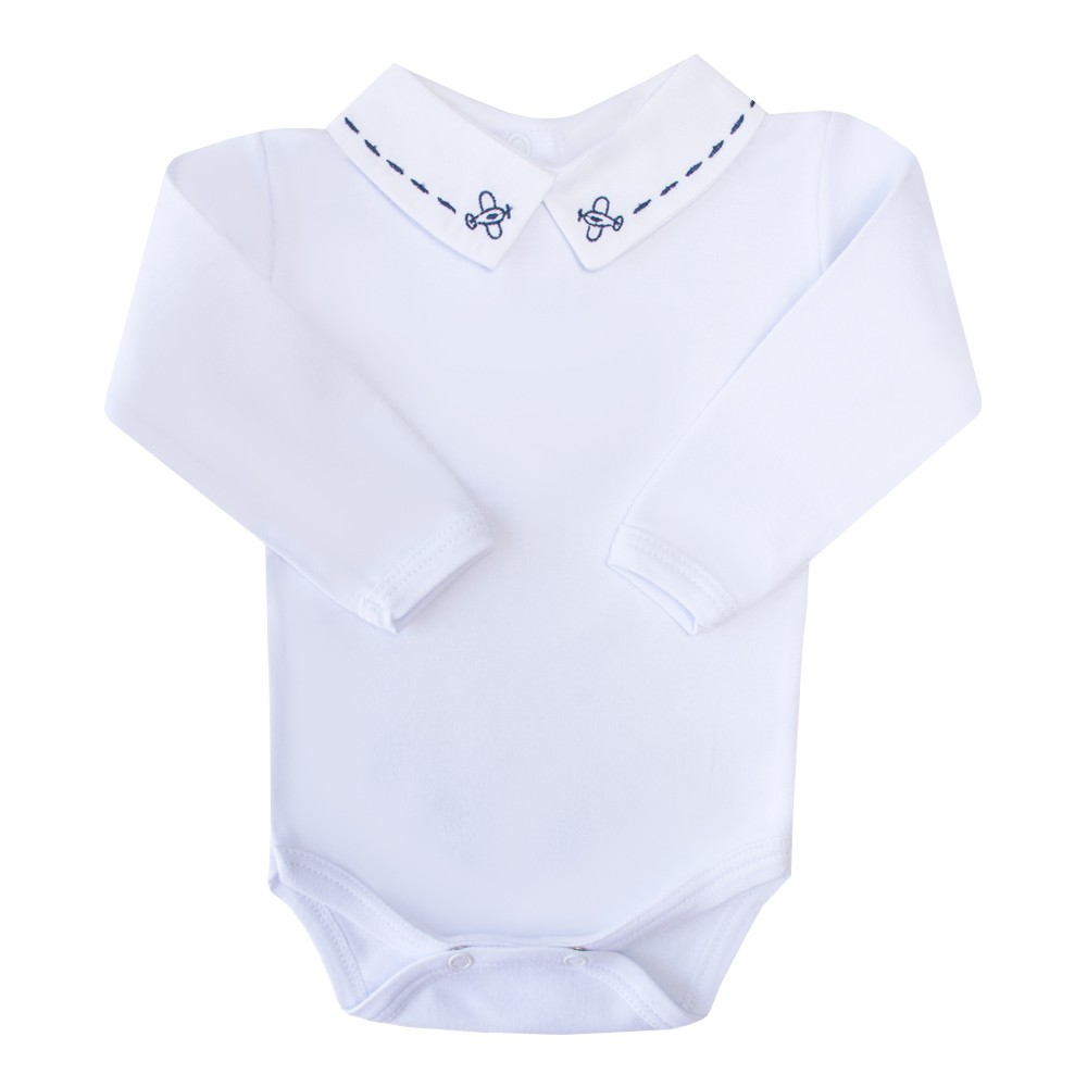 Body bebê avião - Branco e azul marinho