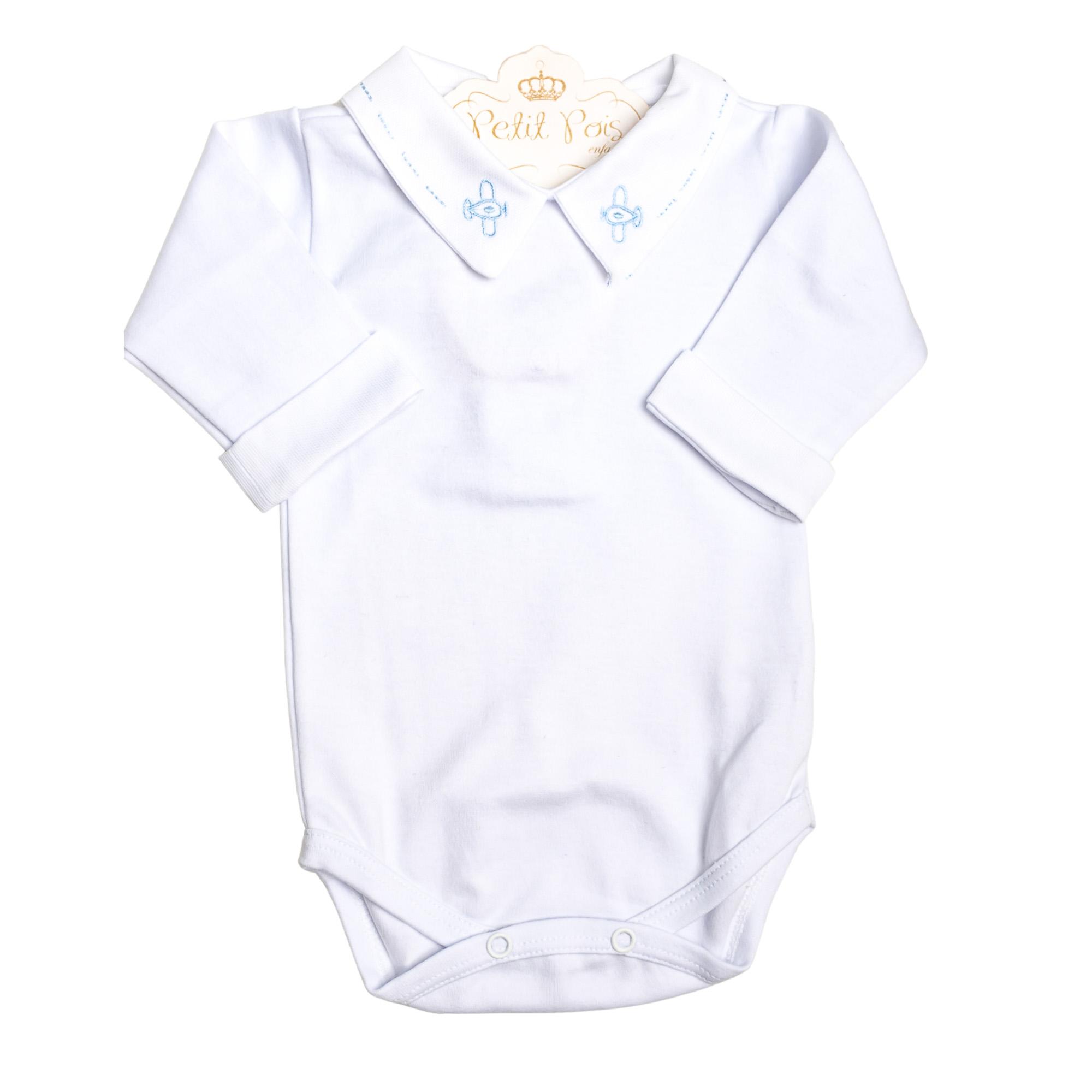 Body bebê avião e punhos  - Branco e azul bebê