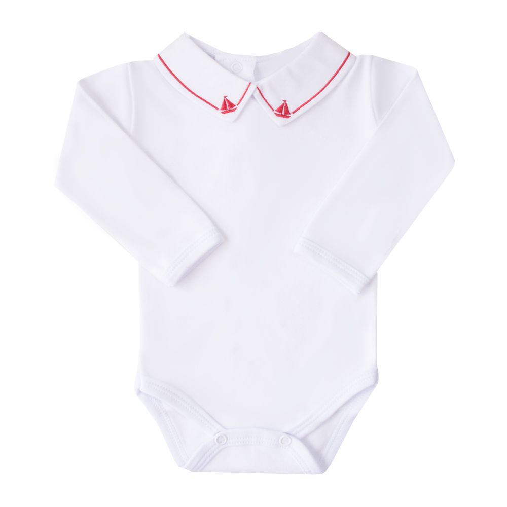 Body bebê barquinho - Branco e vermelho