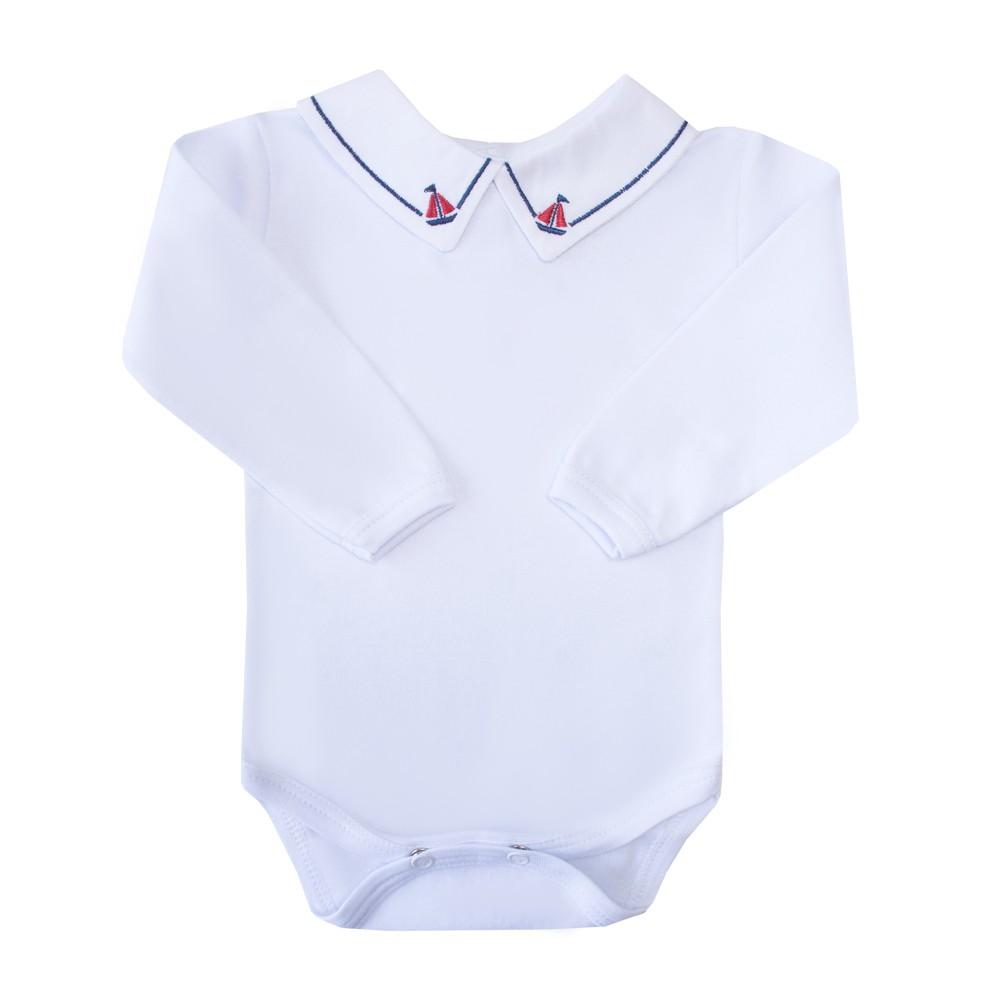 Body bebê barquinho e linha - Branco