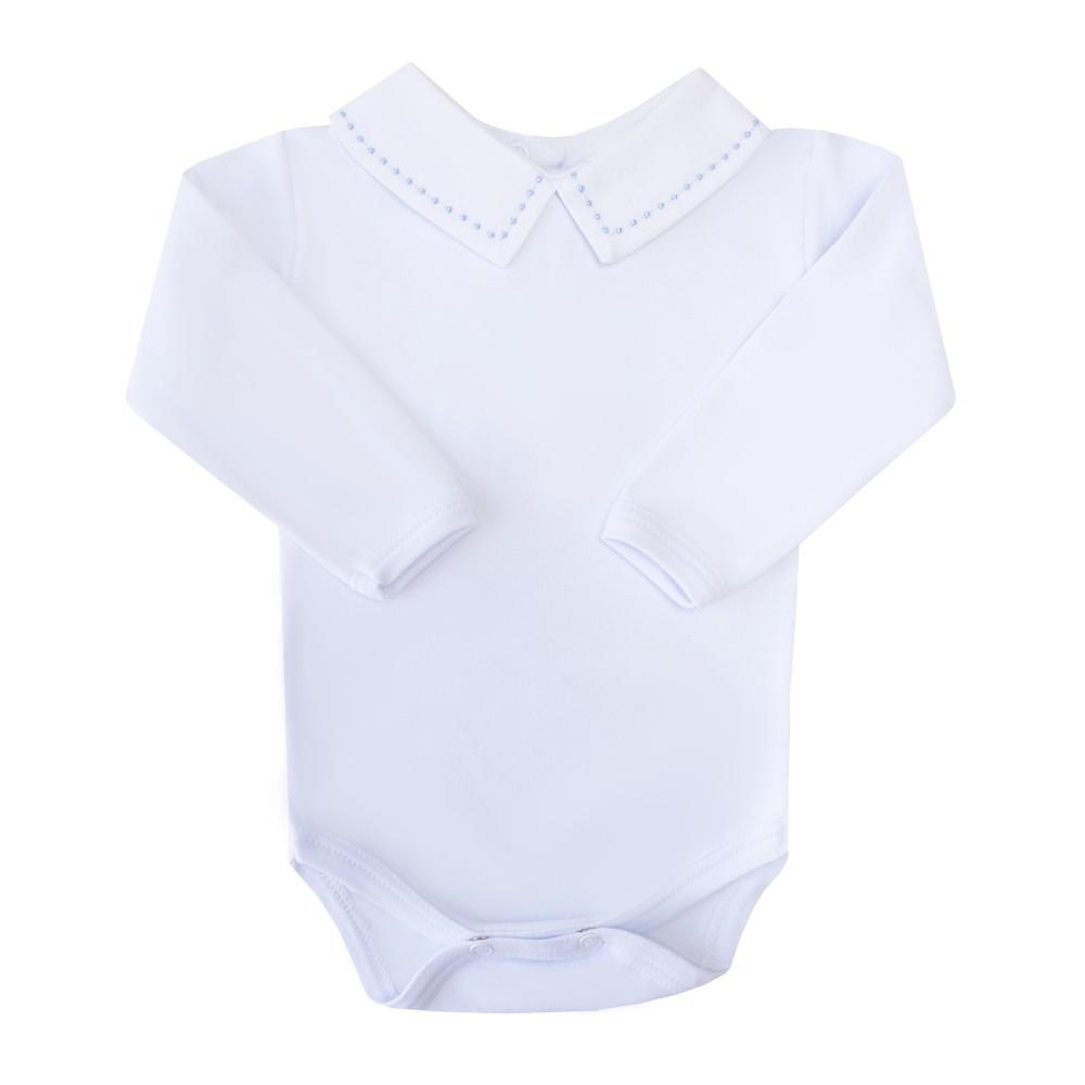 Body bebê bolinha - Branco e azul bebê