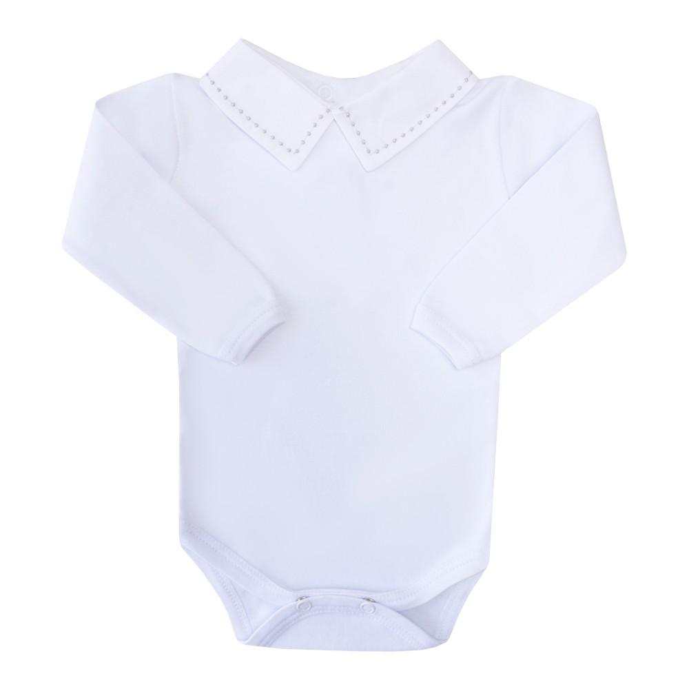 Body bebê bolinha - Branco e cinza