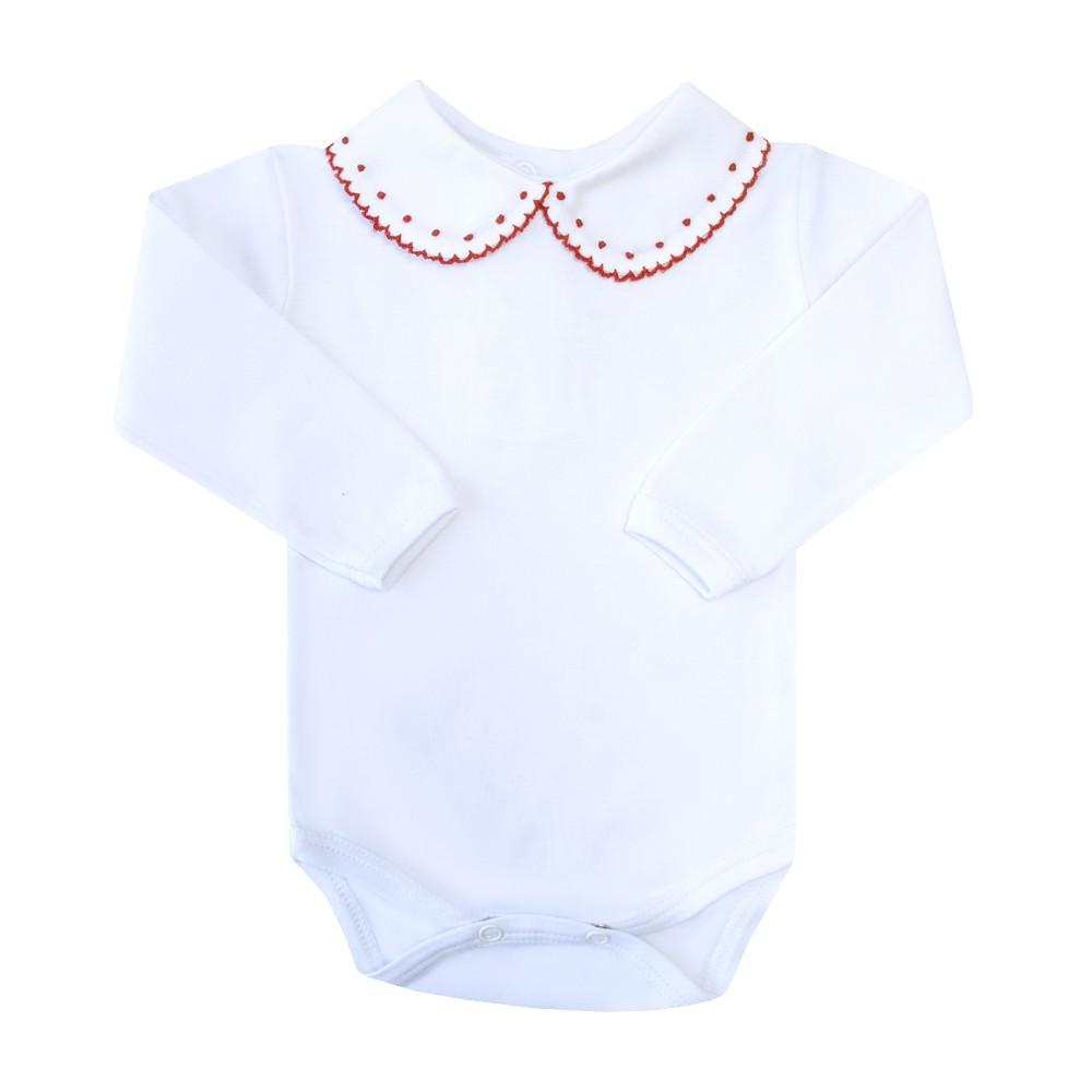 Body bebê bolinhas e rendinha - Branco e vermelho