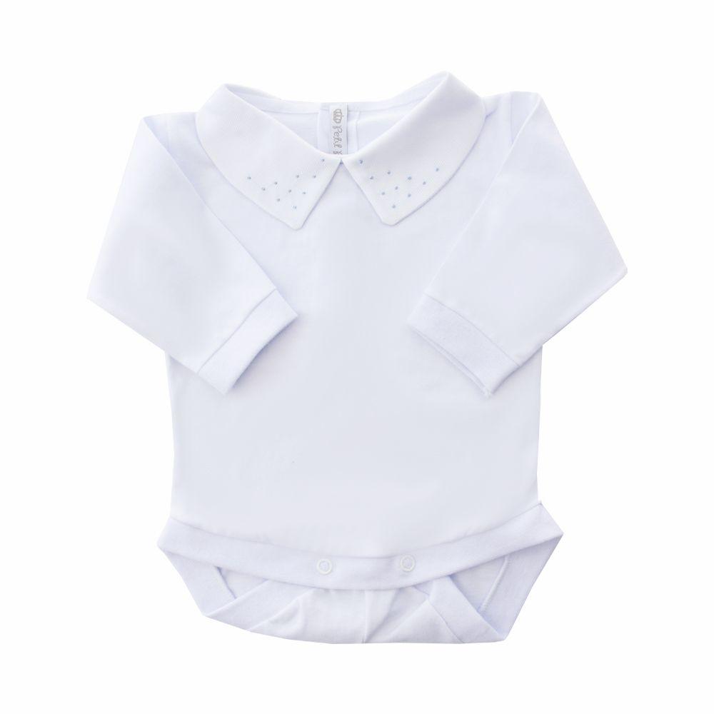 Body bebê bolinhas frontais - Branco e azul bebê
