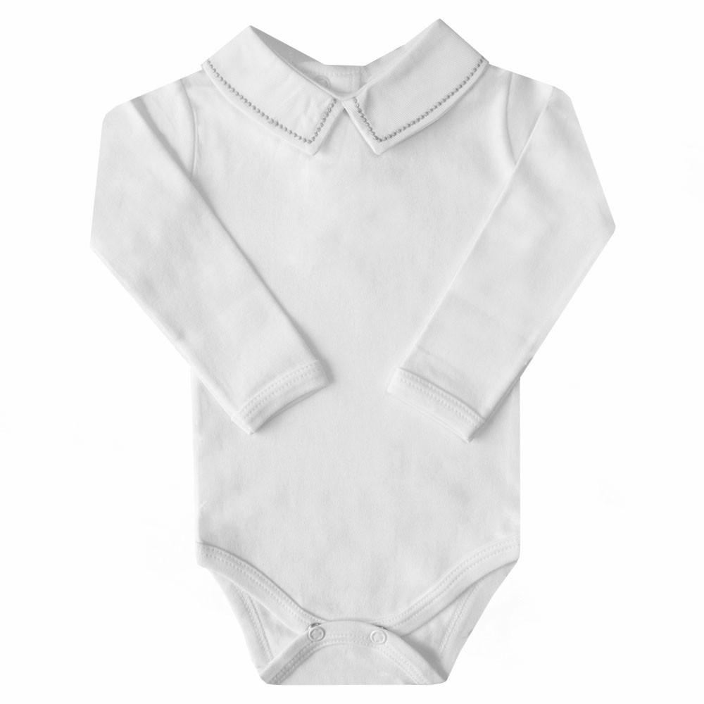Body bebê bolinhas PP - Branco e cinza