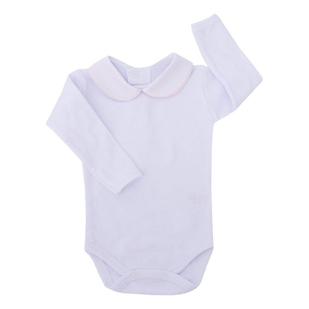 Body bebê feminino - Branco e rosa bebê