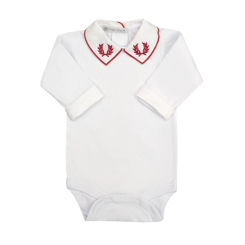 Body bebê brasão - Branco e vermelho