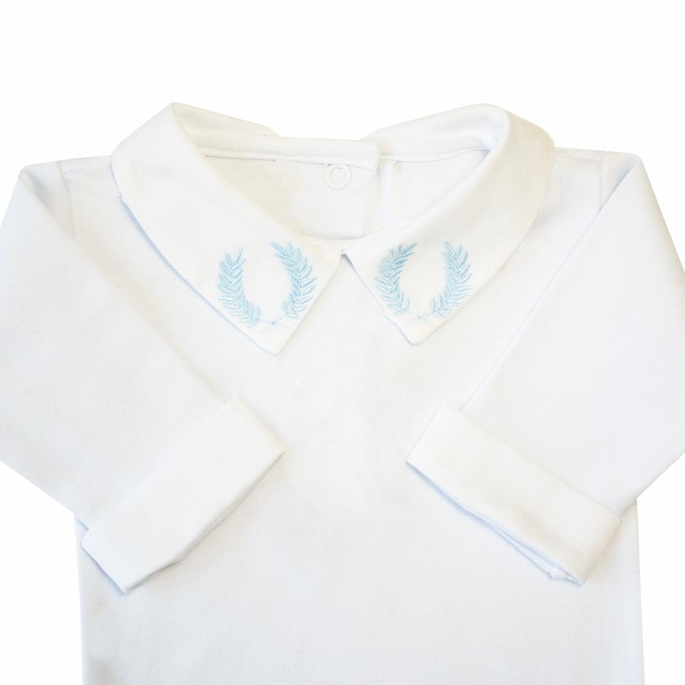 Body bebê brasão e punhos  - Branco e azul bebê