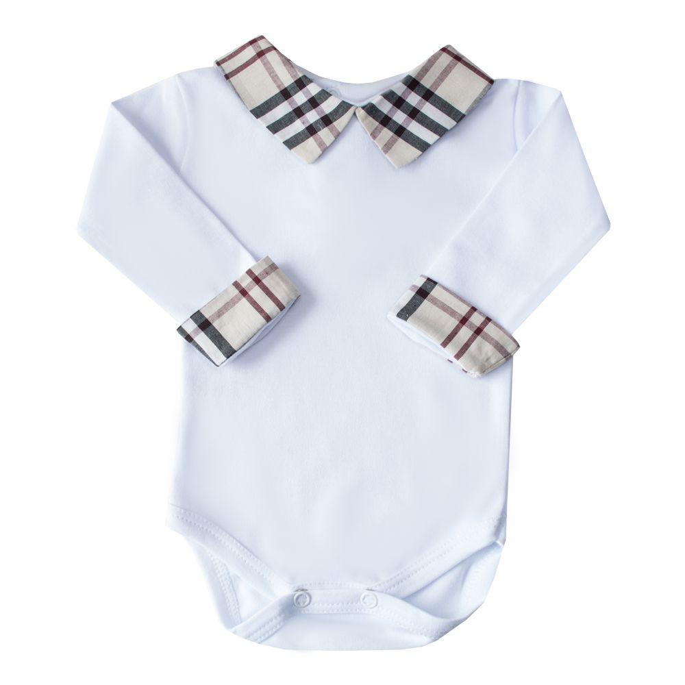 Body bebê gola xadrez - Branco