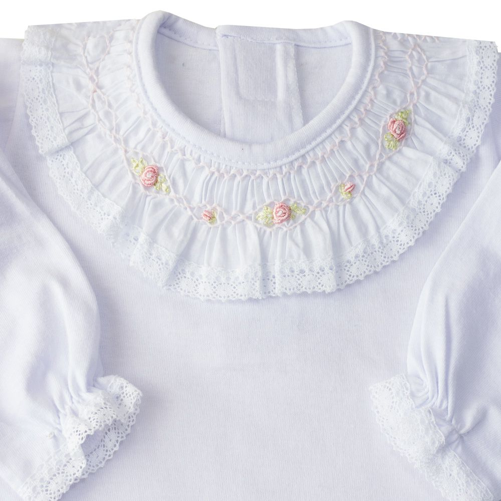 Body bebê casinha de abelha com flores - Branco e rosa