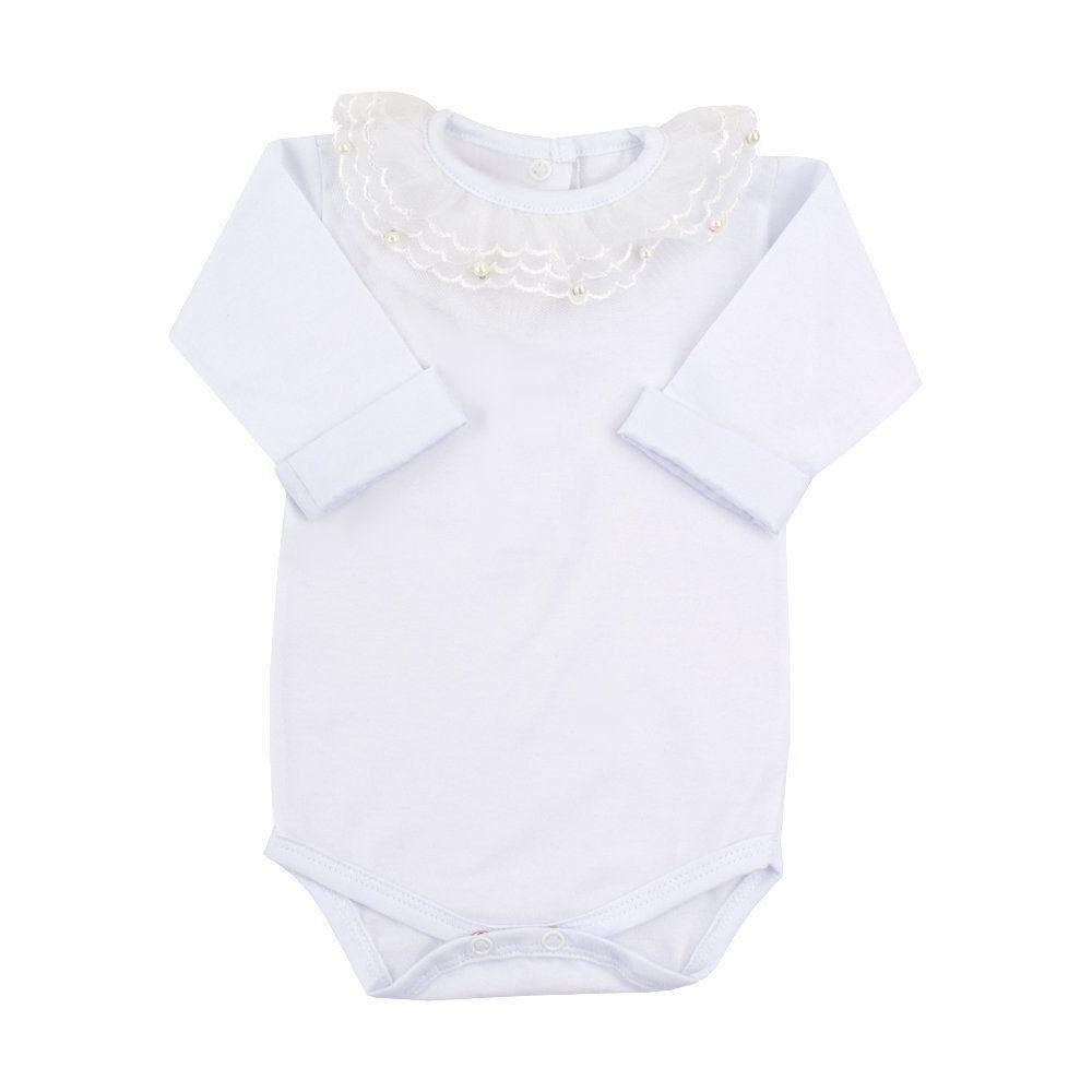 Body bebê com gola em tule e pérolas - Branco