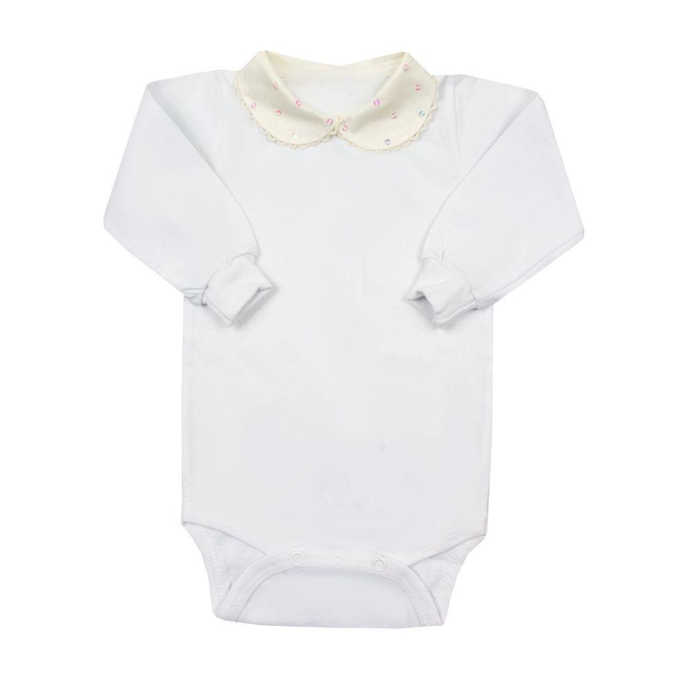 Body bebê com gola bordada - Off white