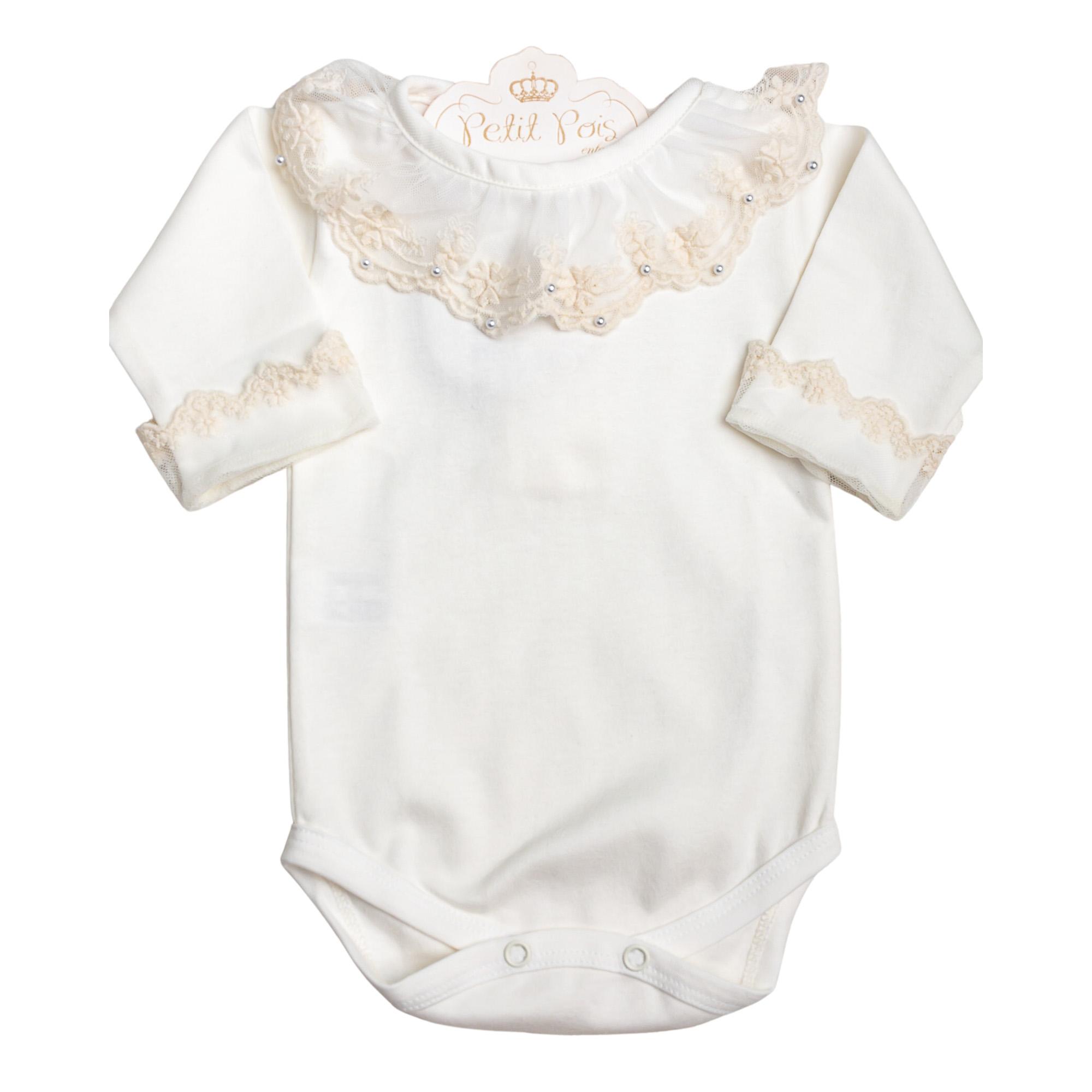 Body bebê com gola em tule e pérolas - Marfim
