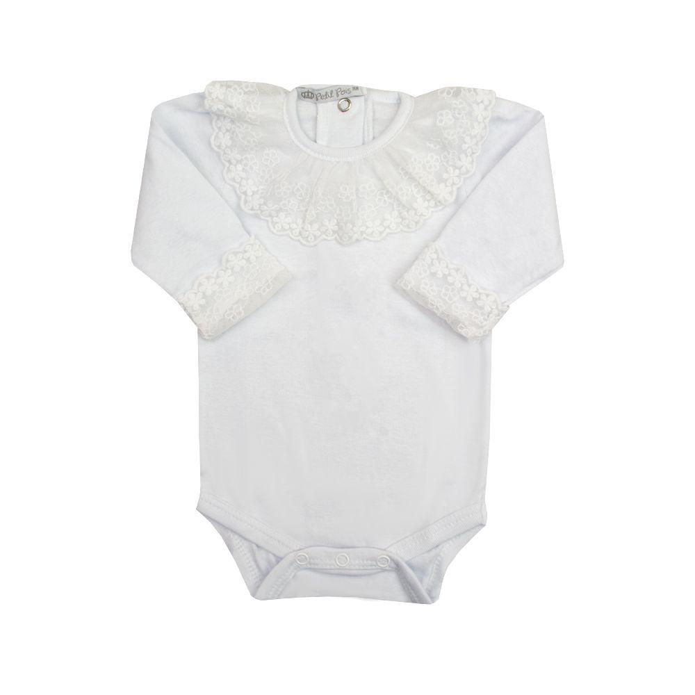 Body bebê com renda - Branco