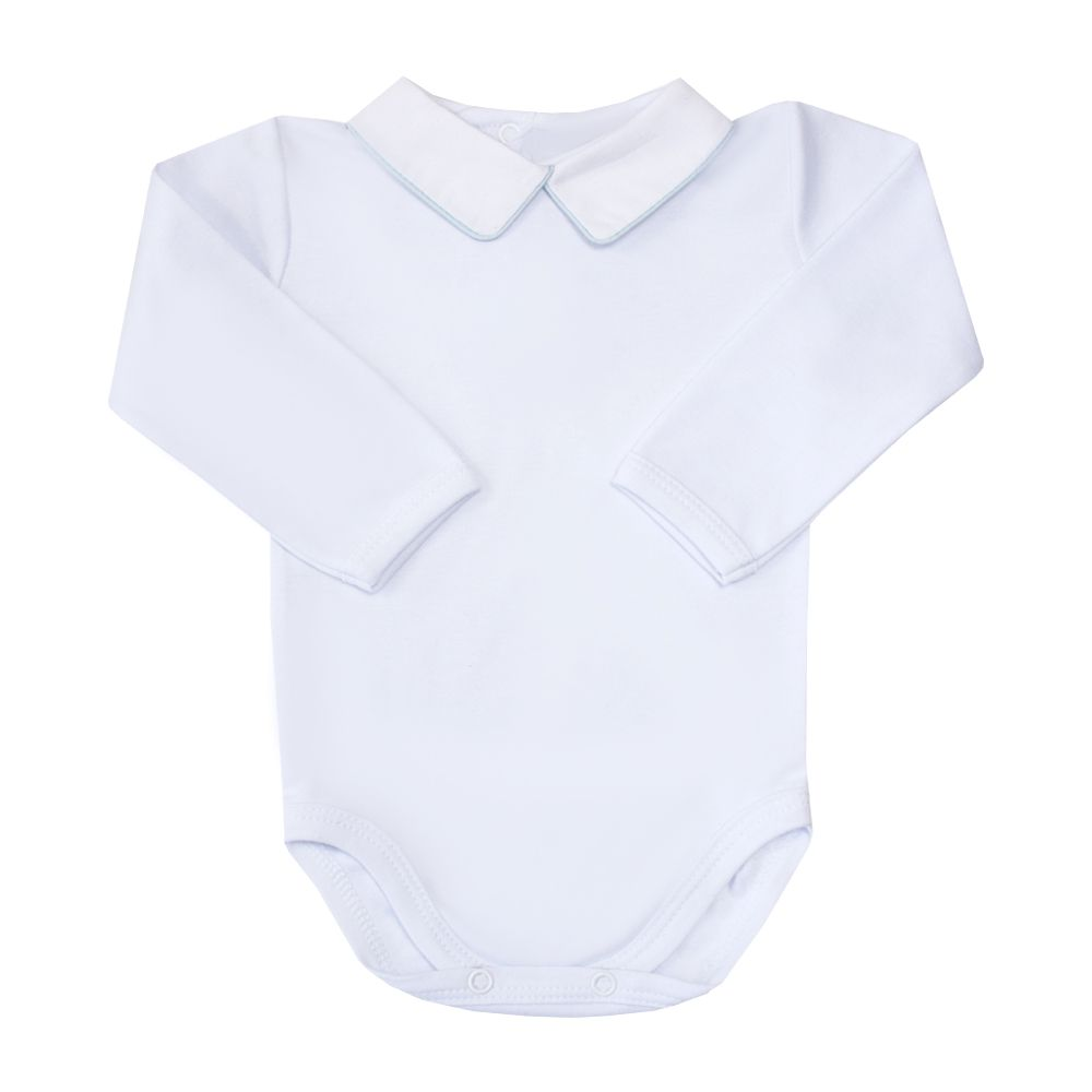 Body bebê com vivo - Branco e azul bebê