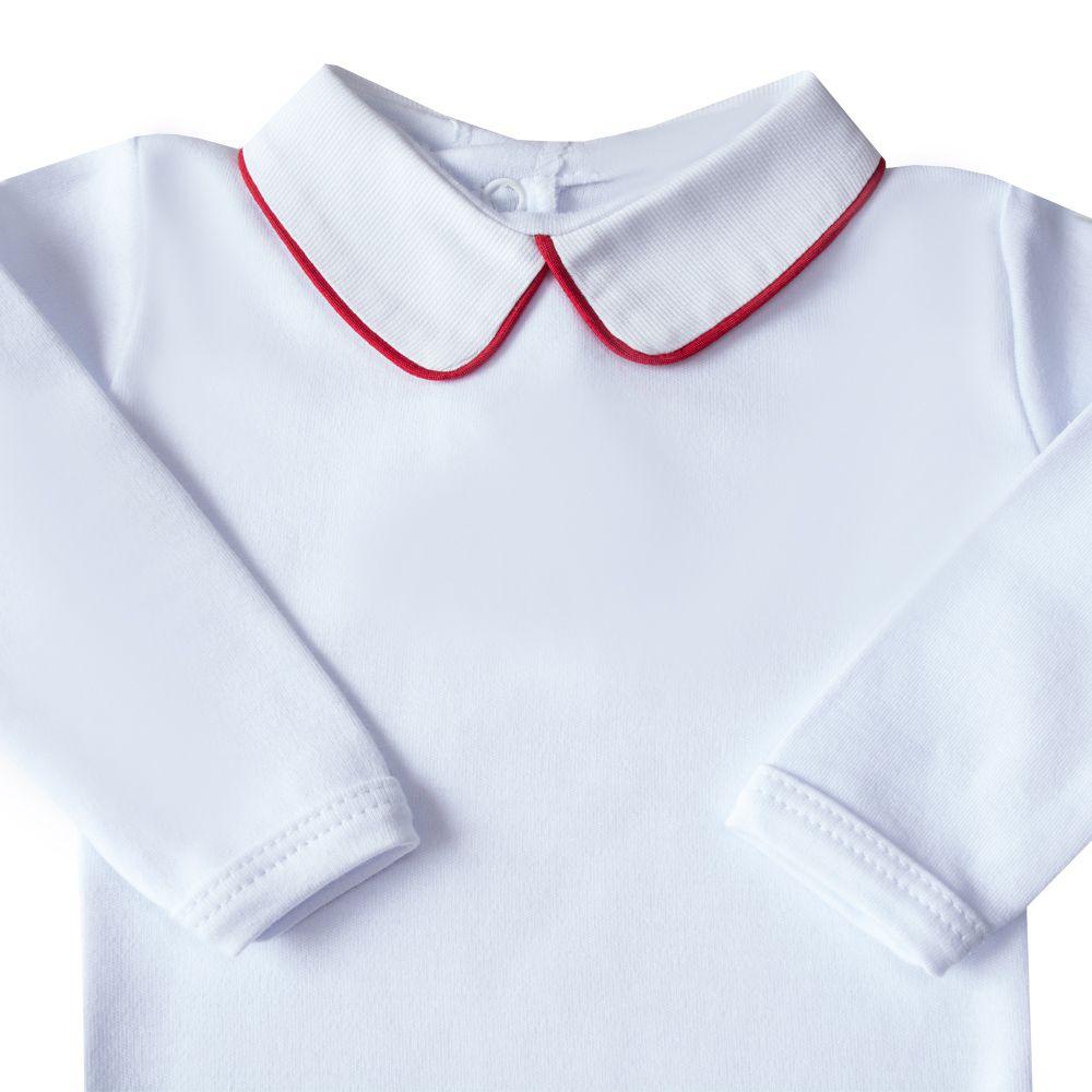 Body bebê com vivo - Branco e vermelho