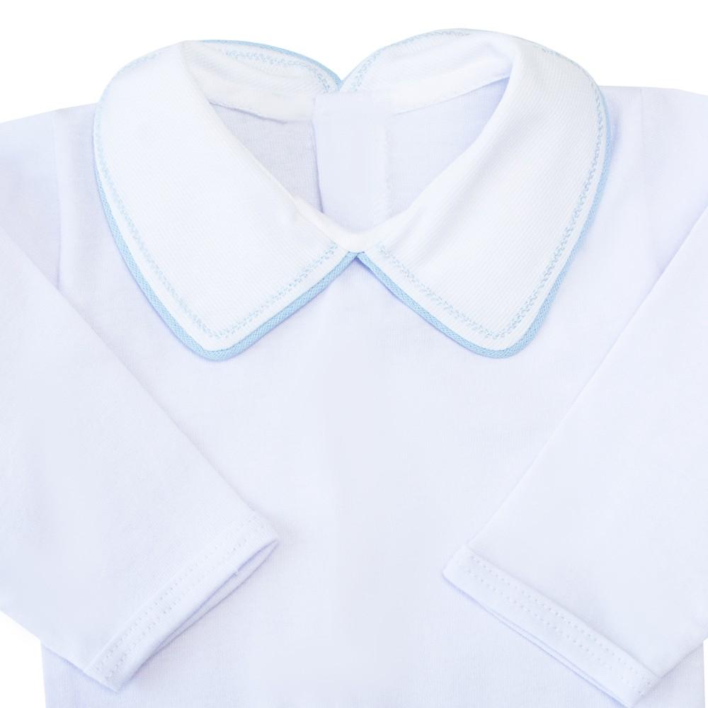 Body bebê com vivo e treliça - Branco e azul bebê